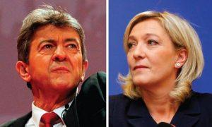 Mélenchon (kiri) dan Le Pen (kanan)